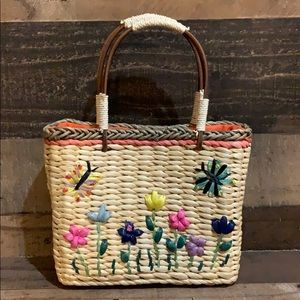 Vintage Straw Flower Butterfly Mini Purse Bag